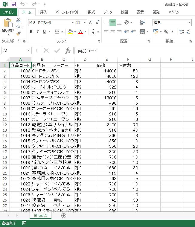 Excelに出力されたデータ