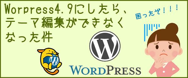 Worpress4.9にしたら、テーマ編集ができなくなった件